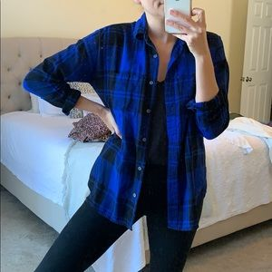 Royal blue and black boyfriend flannel.